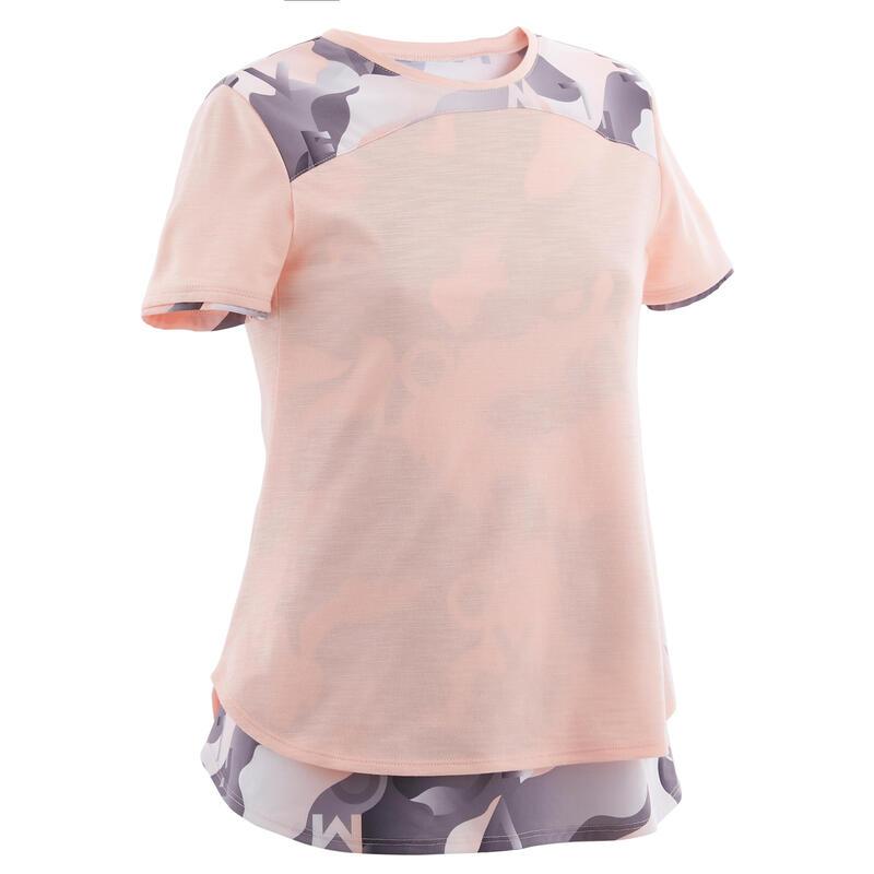 T-shirt enfant coton respirant 2 en 1 - 500 rose avec imprimé gris