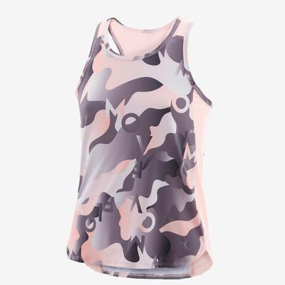 Camiseta sin mangas sintética transpirable GIMNASIA INFANTIL S500 niños rosa est
