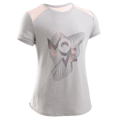 Girls' Breathable Short-Sleeved Gym T-Shirt 500 - Light Grey/Print