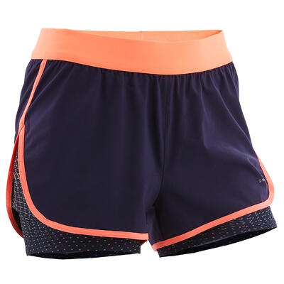 Girls' Breathable Double Gym Shorts W500 - Navy Blue