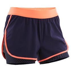 Shorts 2-in-1 W500 atmungsaktiv Gym Kinder marineblau