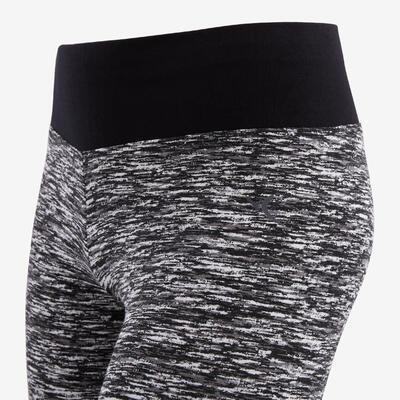 מכנסי 3/4 אווריריים מכותנה להתעמלות דגם 500 לבנות - שחור / הדפס