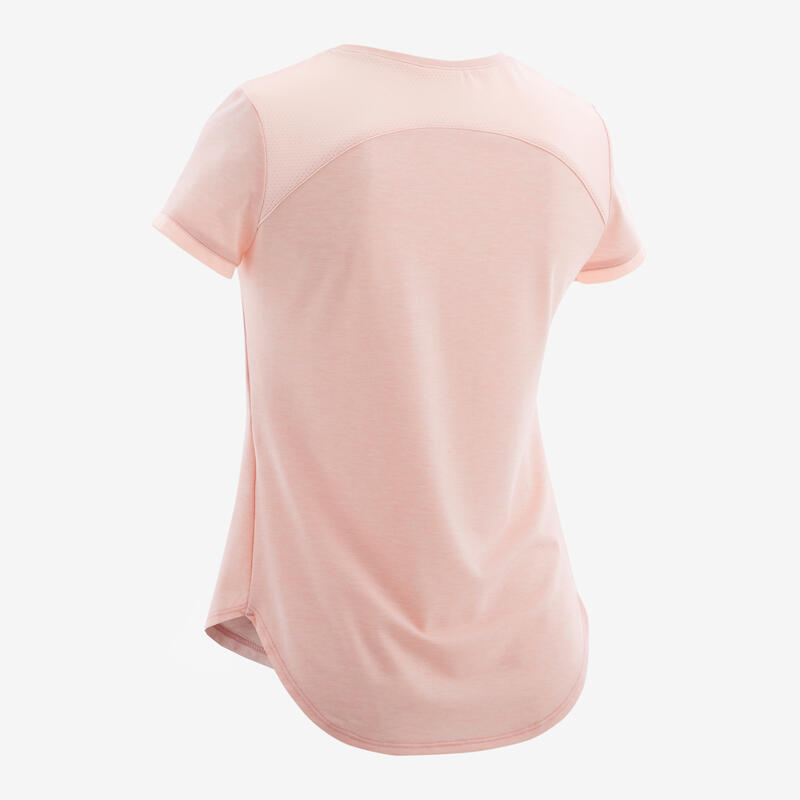 Girls' Breathable Short-Sleeved Gym T-Shirt 500 - Light Pink