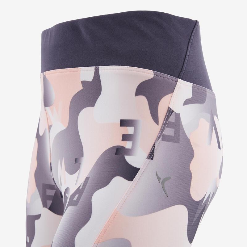 กางเกงขาส่วนใยสังเคราะห์ระบายอากาศสำหรับเด็กผู้หญิงเพื่อกายบริหารทั่วไปรุ่น S500 พิมพ์ลายสีเทา/ชมพู