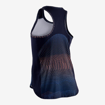 Girls' Breathable Synthetic Gym Tank Top S500 - Navy/Print
