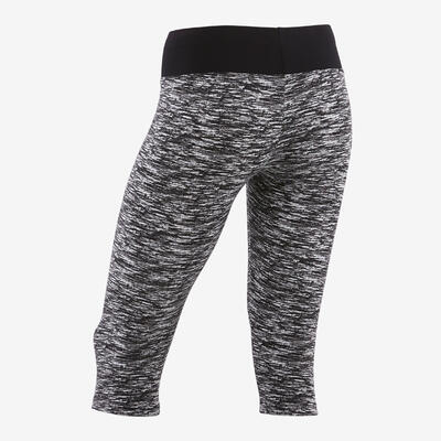 Girls' Breathable Cotton Cropped Gym Bottoms 500 - Black/All-Over Print