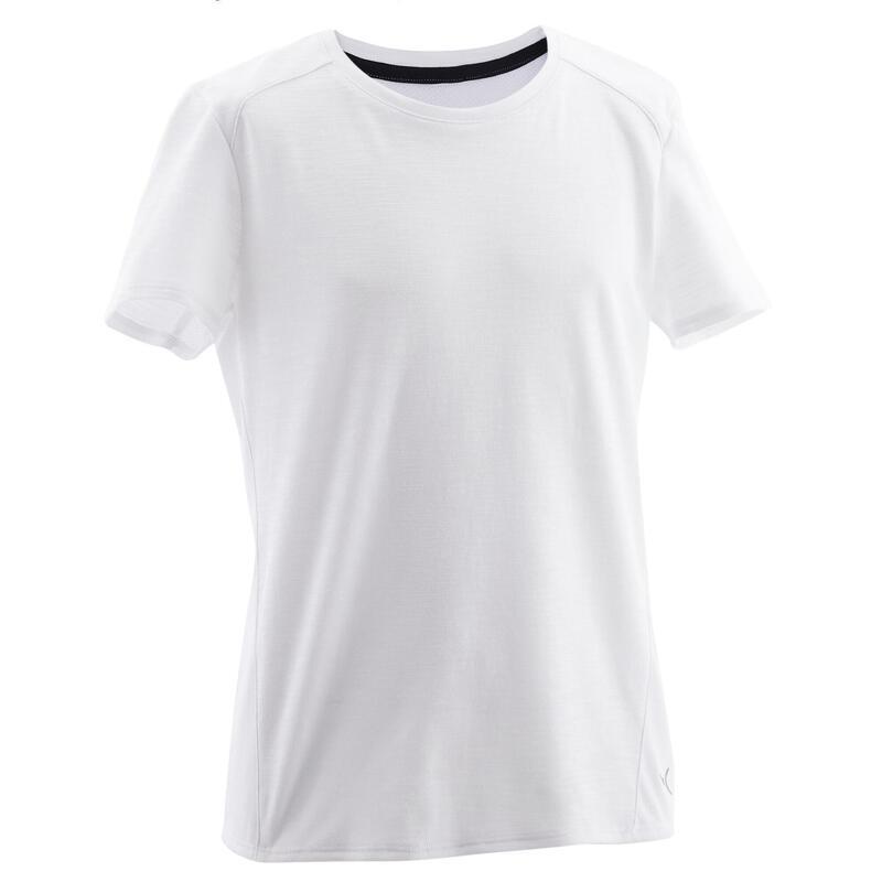 Ademend T-shirt met korte mouwen voor gym jongens 500 katoen wit
