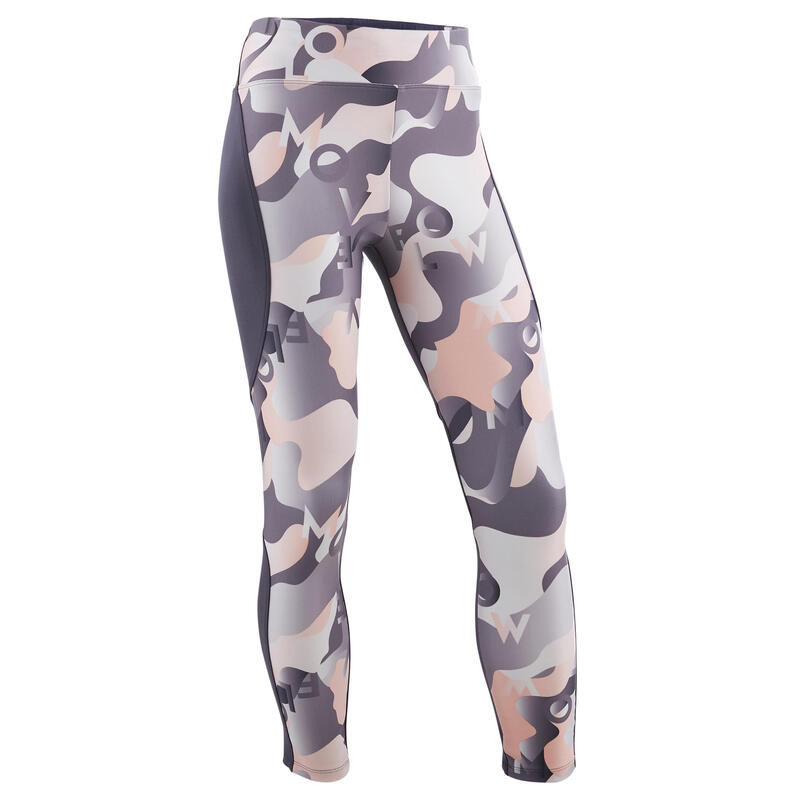 Girls' Breathable Synthetic Gym Leggings S500 - Grey/Pink Print