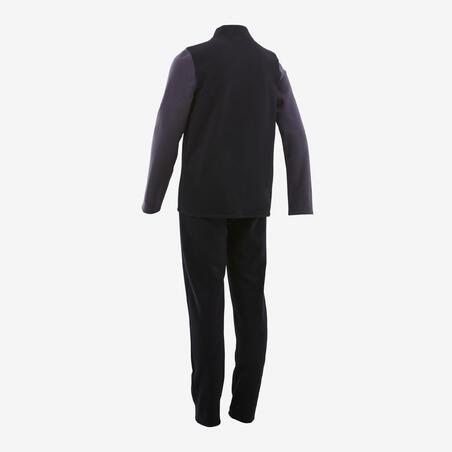 Survêtement chaud 100 garçon GYM ENFANT noir/manches grises Warmy Zip