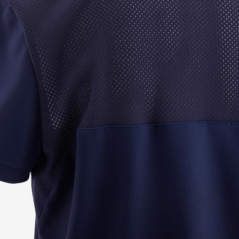 Polera manga corta sintética transpirable S500 GIMNASIA NIÑO Azul/Naranjo