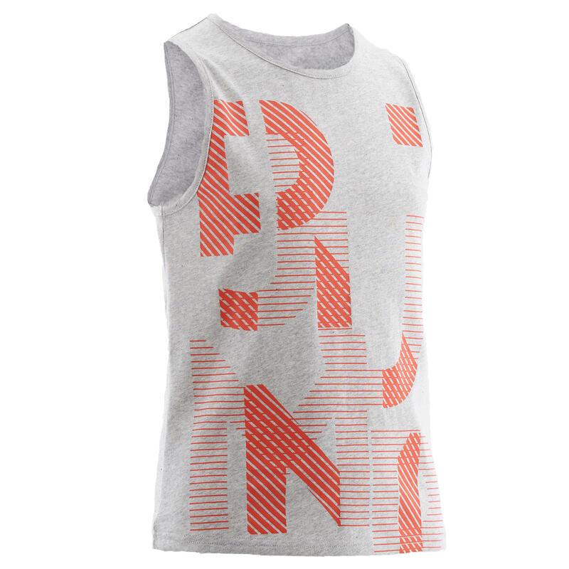 Camiseta sin mangas 100 niños GIMNASIA INFANTIL gris estampado