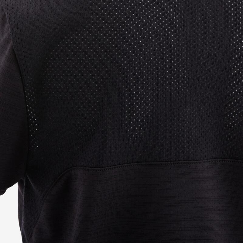 เสื้อยืดแขนสั้นเด็กผู้ชายผ้าใยสังเคราะห์ระบายอากาศได้ดีสำหรับกายบริหารทั่วไปรุ่น S500 (สีดำ)
