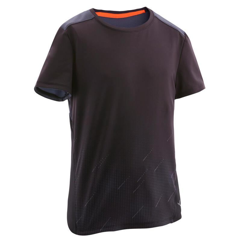 T-shirt enfant synthétique respirant - 500 noir avec imprimé