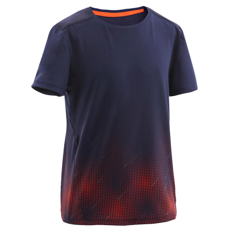 Ademend synthetisch T-shirt met korte mouwen voor gym jongens S500 blauw AOP