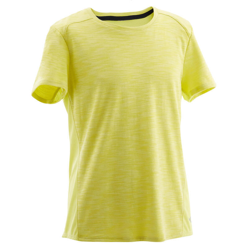 Boys' Breathable Cotton Short-Sleeved Gym T-Shirt 500 - Yellow