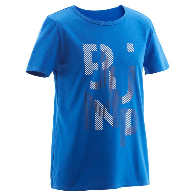 T-shirt enfant coton - Basique bleu avec imprimé