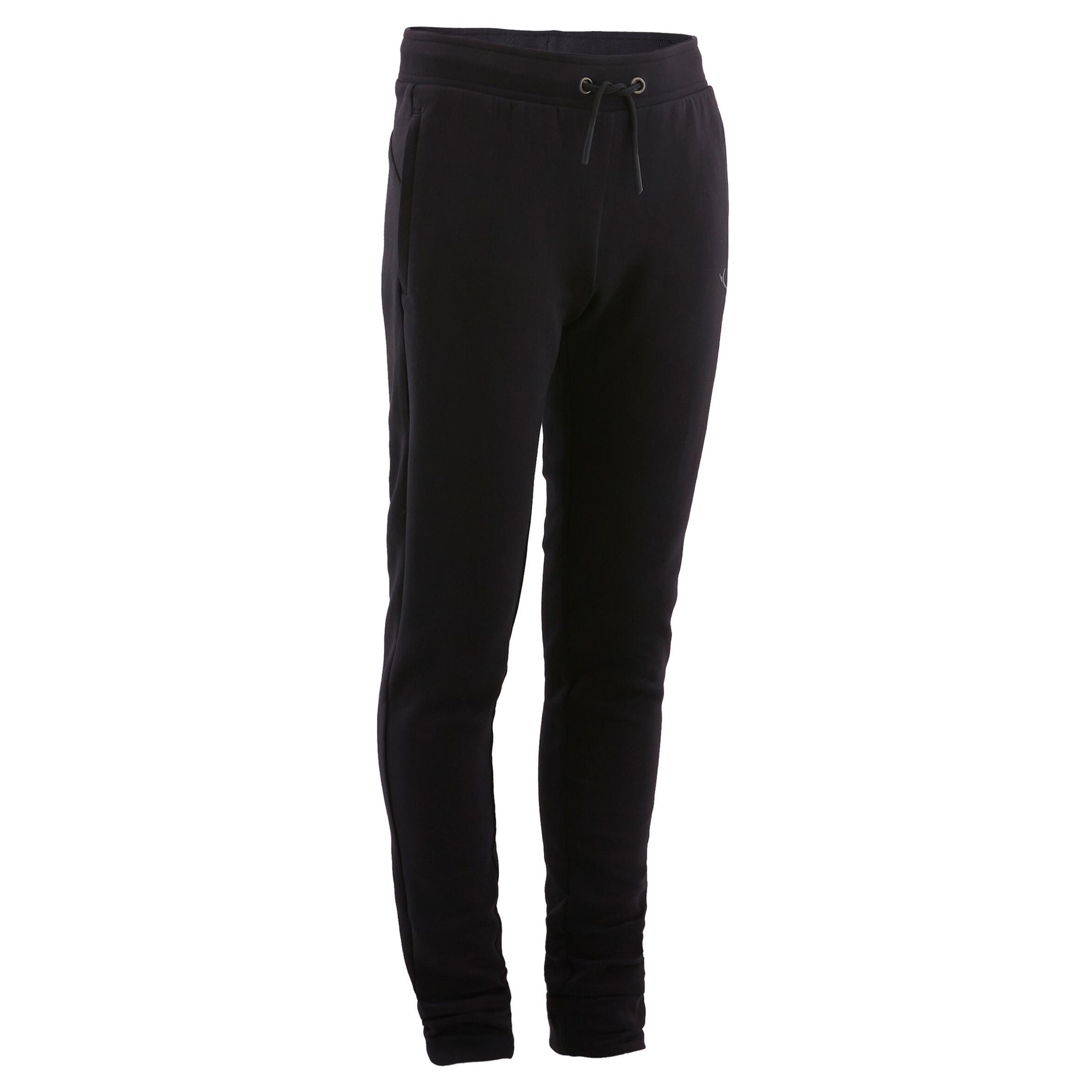 Pantalon slim 500 negru băieți imagine