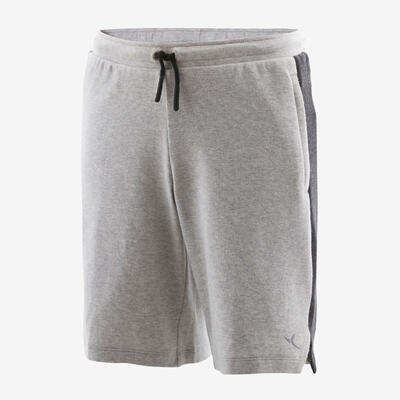 Boys' Breathable Cotton Zip-Pocket Gym Shorts 500 - Light Grey Marl