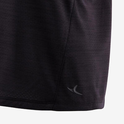 Boys' Breathable Synthetic Short-Sleeved Gym T-Shirt S500 - Black