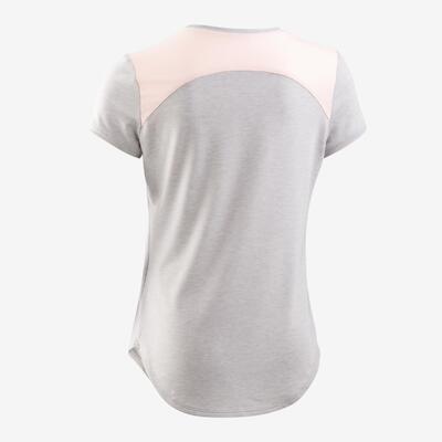 Camiseta manga corta transpirable GIMNASIA INFANTIL 500 niños gris clarito estam