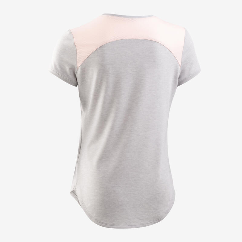 Girls' Breathable T-Shirt - Light Grey Print
