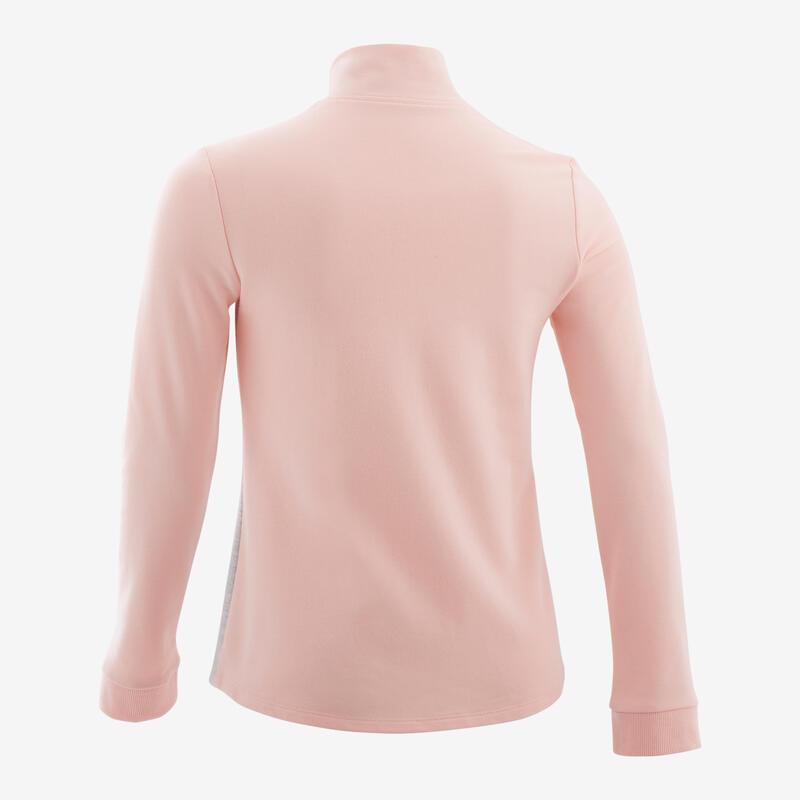 Sweat zippé sans capuche rose et gris ENFANT