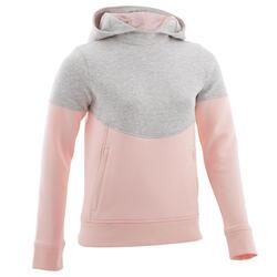 Warme gymhoodie voor meisjes 500 gemêleerd lichtgrijs, roze Ritszakken