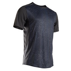 男款透氣跑步T恤Kiprun Light - 海軍藍/圖樣
