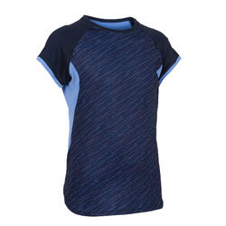 Girls' Synthetic Short-Sleeved Gym T-Shirt S500 - Navy Print/Purple