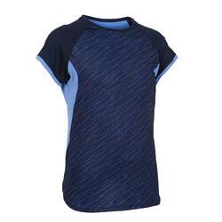 女童合成材質健身短袖T恤S500 - 軍藍色印花/紫花
