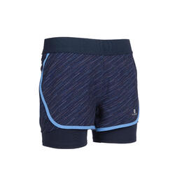 Girls' Breathable Double Gym Shorts W500 - Navy Blue/Print