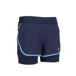 女童透氣雙層健身短褲W500 - 軍藍色/印花