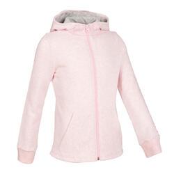 女童保暖刷毛健身連帽外套100 - 粉色