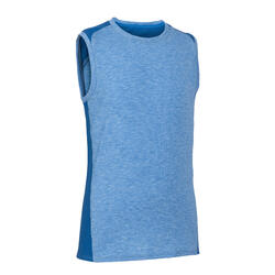 Boys' Breathable Cotton Gym Tank Top 500 - Blue