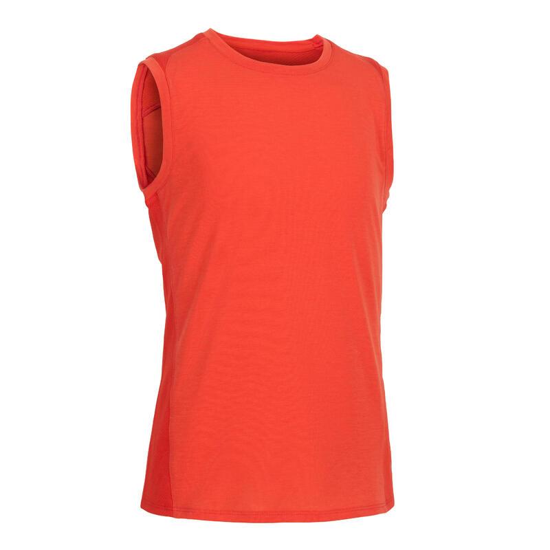 เสื้อกล้ามผ้าฝ้ายระบายอากาศสำหรับเด็กผู้ชายเพื่อกายบริหารทั่วไปรุ่น 500 (สีส้ม)