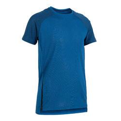 男童輕盈透氣健身T恤S580 - 藍色/軍藍色連肩袖
