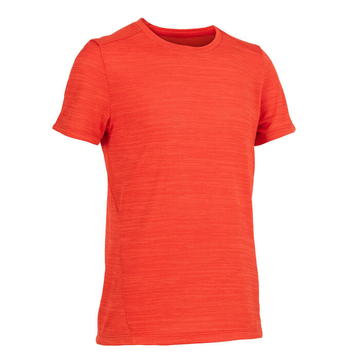 男童透氣合成材質健身短袖T恤S500 - 淡紅色