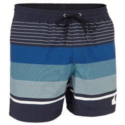 Boardshorts kurz Herren schwarz mit blauen Streifen