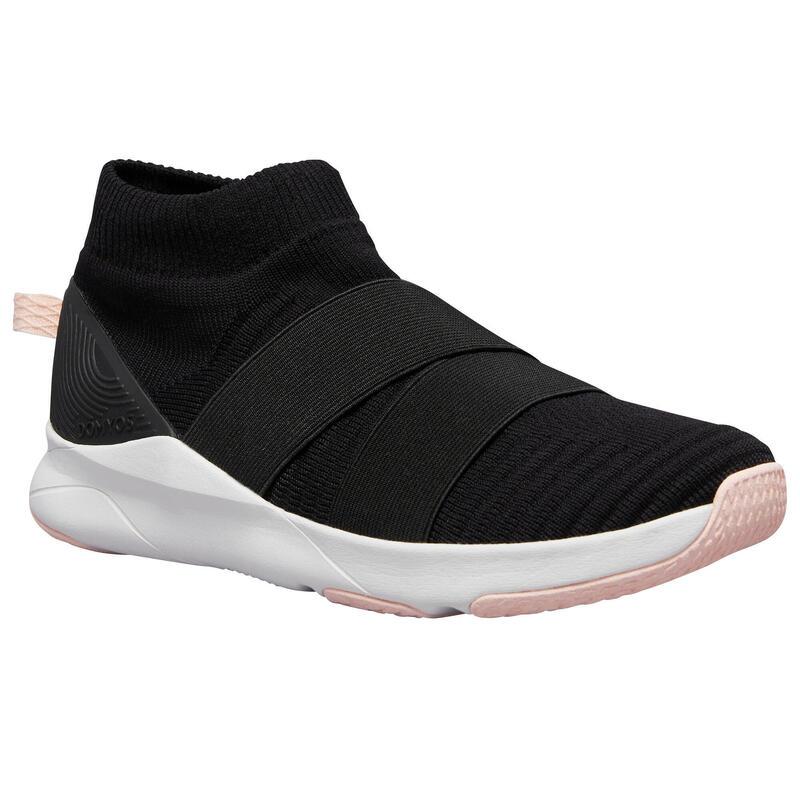 Zapatillas de fitness 500 negro correas sin cordones