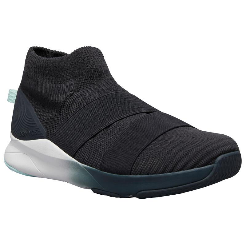 Zapatillas de fitness 500 gris correas sin cordones