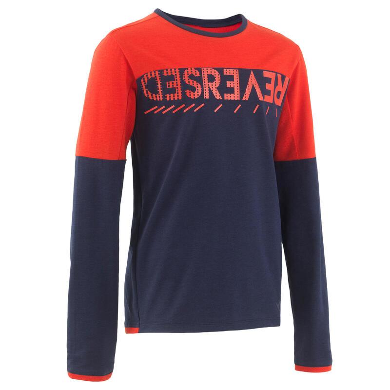 Camiseta de manga larga algodón azul marino rojo niños