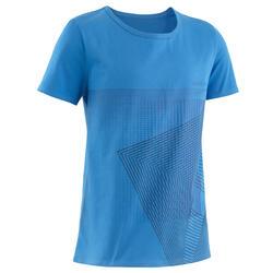 T-Shirt Basic 100 Gym Kinder blau mit Print
