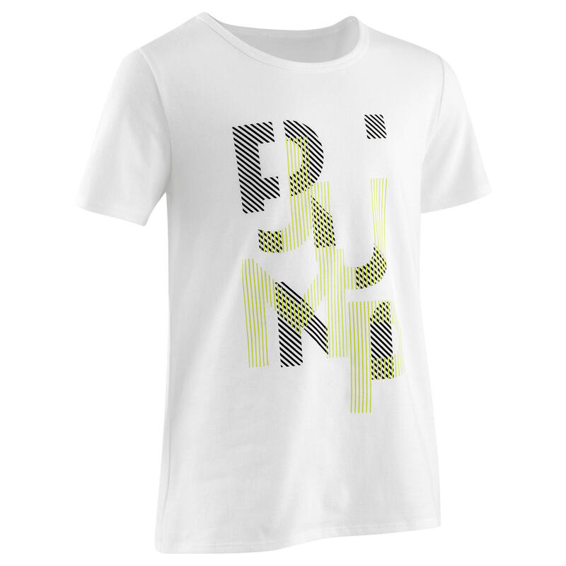T-shirt enfant coton - Basique blanc jaune avec imprimé
