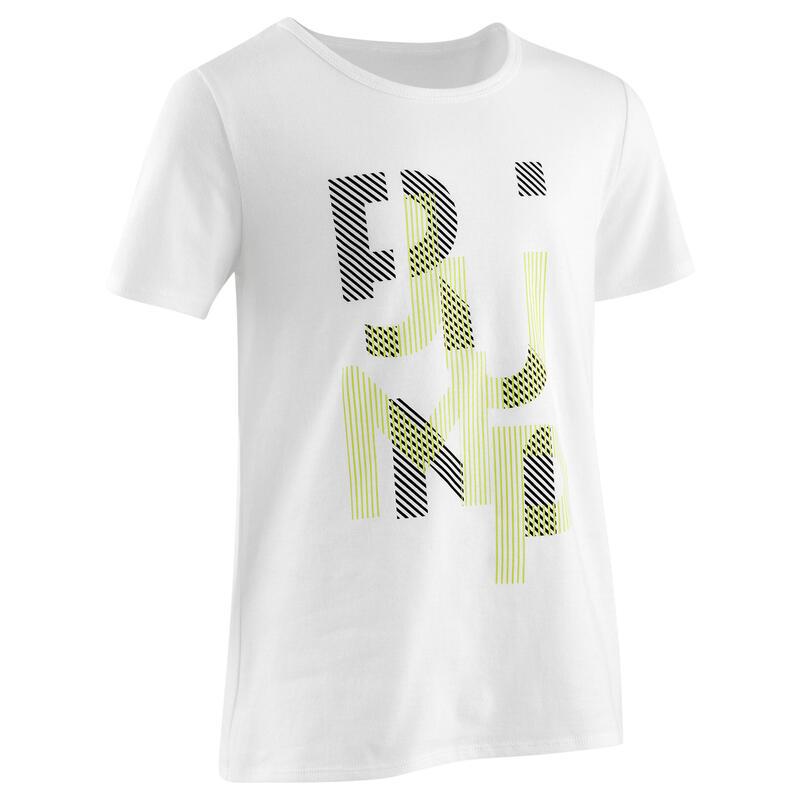 T-Shirt basique blanc/jaune imprimé ENFANT