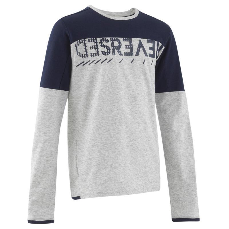 Camiseta de manga larga algodón gris jaspeado niños