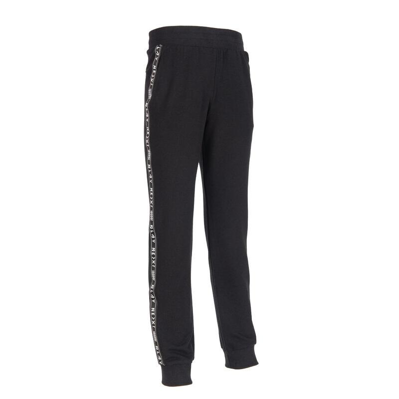 男童毛圈布健身慢跑長褲100 - 黑色/側面條紋