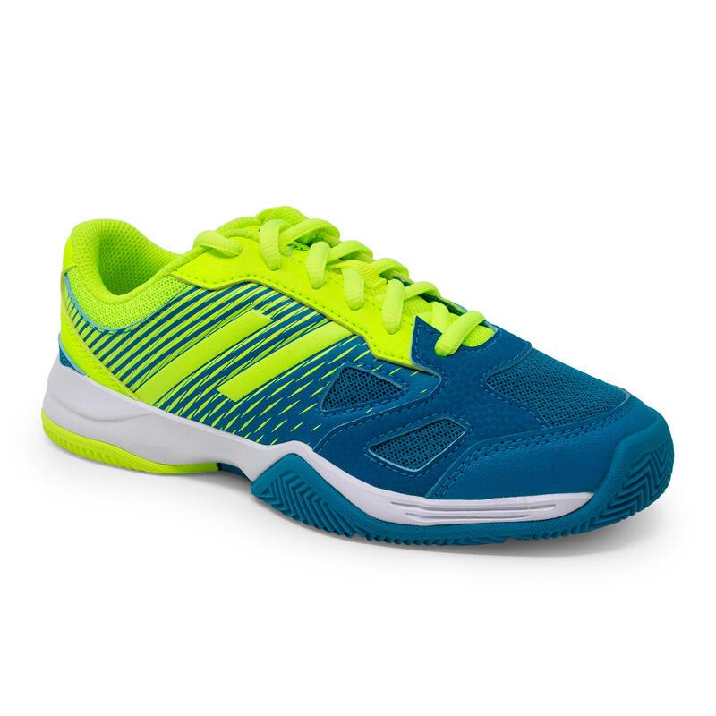 Zapatillas PÁDEL niños PS 500 JR LACE azul amarillo
