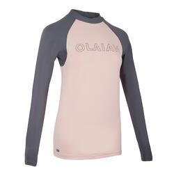 女款抗UV衝浪長袖T恤500-黑色
