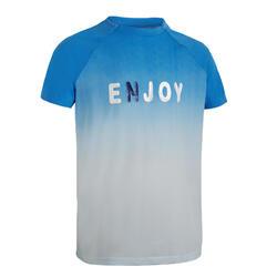 男孩款跑步/田徑短袖T恤 - 藍色圖案