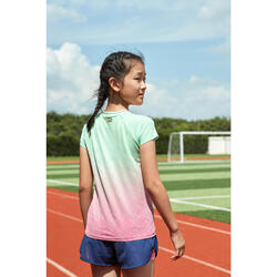 AT 500 Girl's running SL T-shirt - faded green and pink